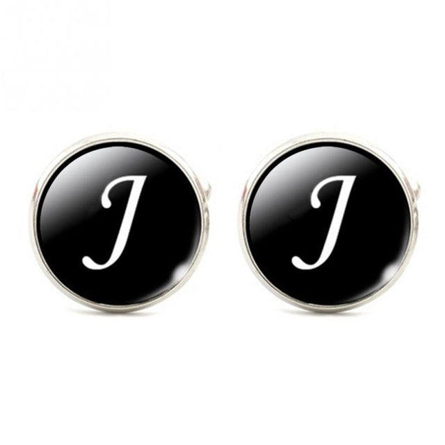 Black Bottom Silver Plated Wedding Party Vintage Letters CuffLink