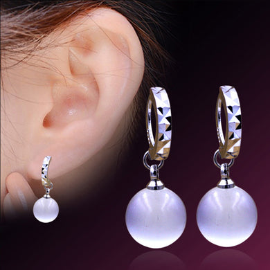 White moonstone Opal pendant Silver Plated stud Earring