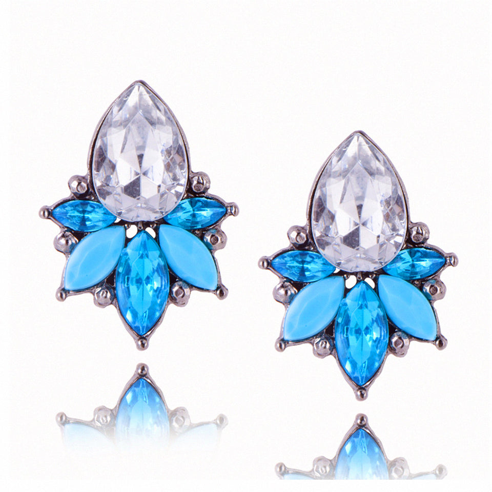 Flower Design Crystal Stud Earrings For Women