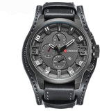 Men Military Quartz Leather Wristwatch