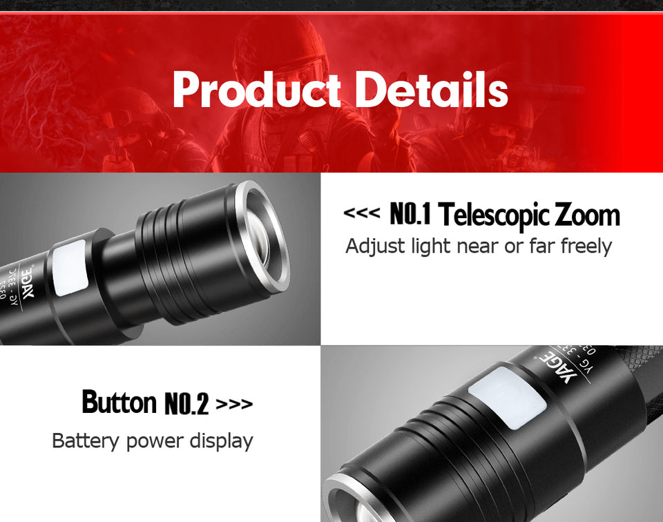 Tactical flashlight Torch Zoom LED Flashlight with USB Charging