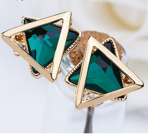 New Hot Sale Triangle Glass Stud Earring