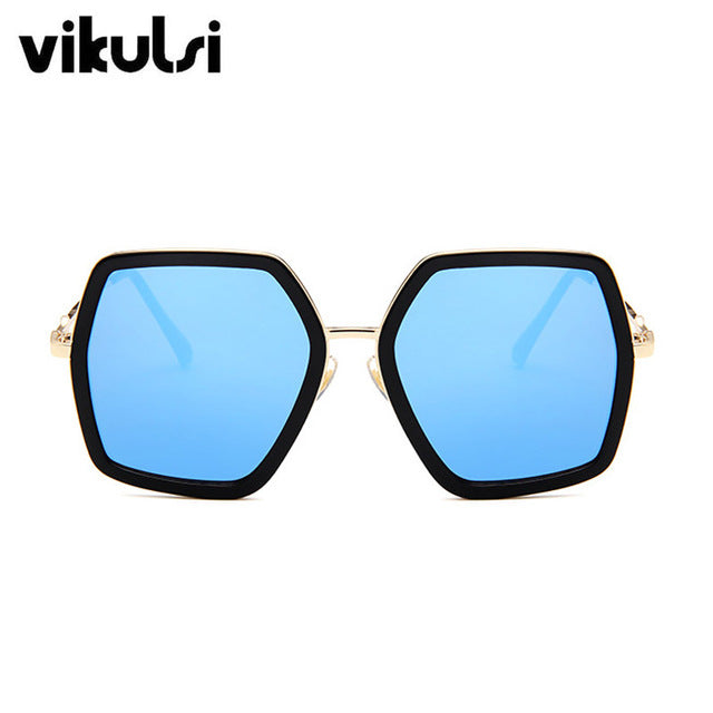 Square Luxury Crystal Oversized Big Frame Mirror Sun Glasses For Female UV400