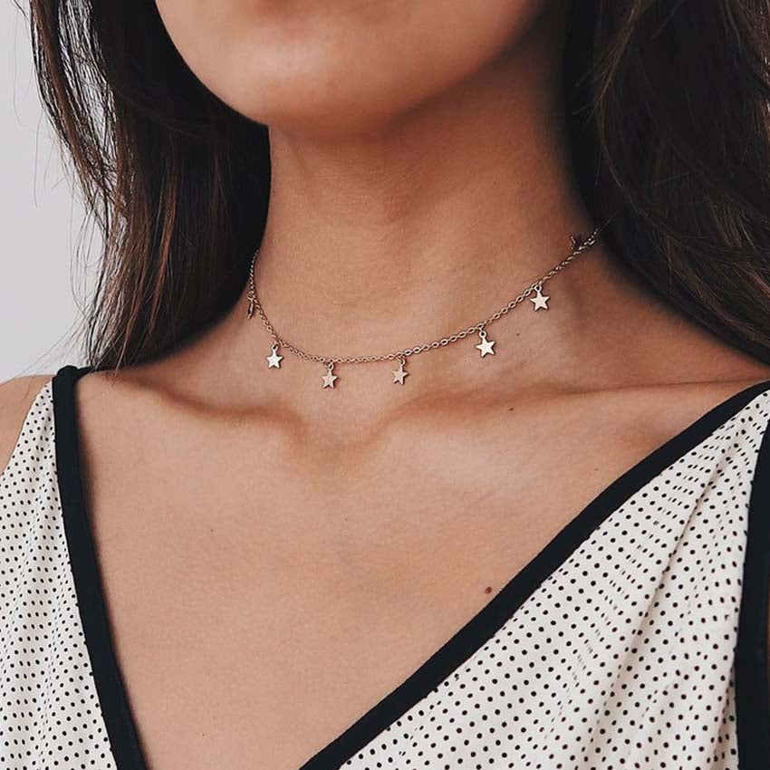 Gold Chain star choker Necklace