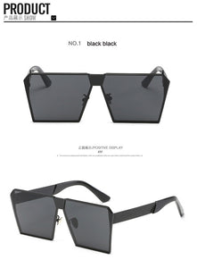 Designer Square Flat lens Sun Glasses Mirror Hip Hop Oversized  UV400