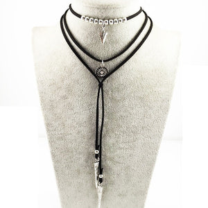 Leather Chain lariat & tassel Necklace with  Gothic Feather Pendant Necklace