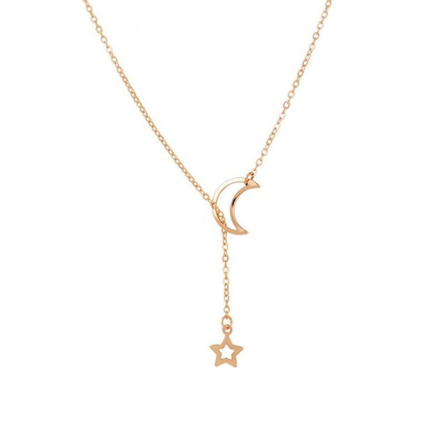Moon Star Ball gold color long Pendant Collares Minimalist Jewelry Circle Dainty Pendant