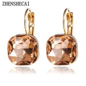 Champagne Gold Square Stud Earrings