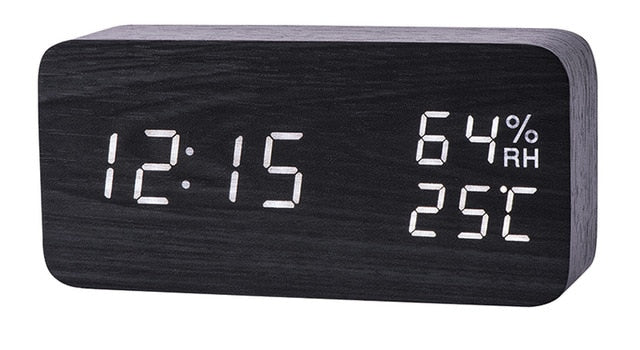 Sound Control LED Alarm Clock with Temperature Humidity Display