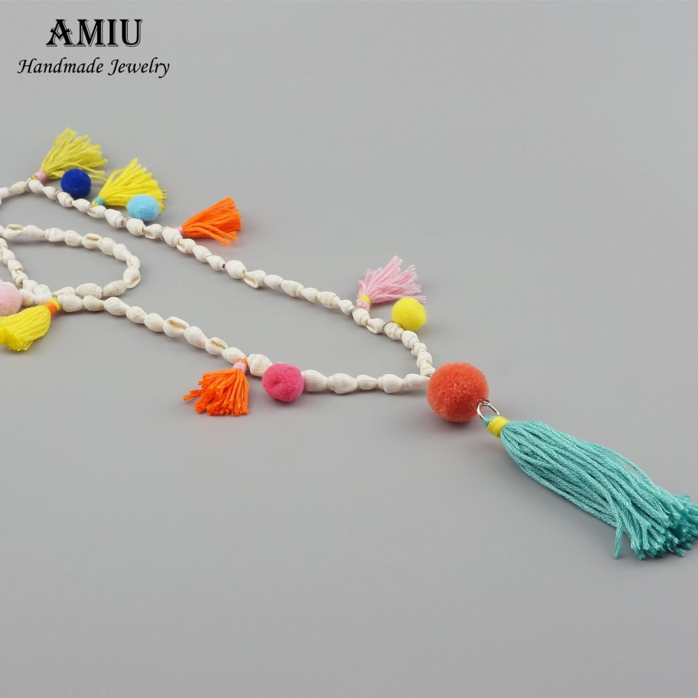 Handmade Conch Shell Tassel Necklace Bohemian Style Women Fashion Pompom Colorful Jewelry