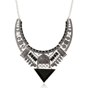 Black Silver Color Bohemian Big Gem Punk Statement Power Maxi Necklace