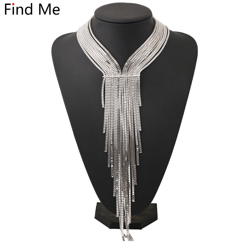 Long chain tassels collar  maxi choker necklace