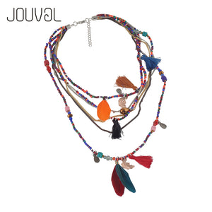 Multilayer Beads Feather Pendant Maxi Collares  Bohemia Jewelry