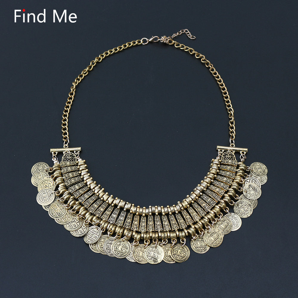 Boho Fashion collar choker necklace & pendant Vintage big coin statement necklace