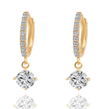 Geometric Round Crystal Stud with Gold Color Zircon Pendant