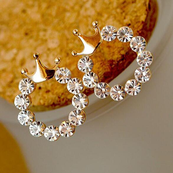 Shining Crystal Round Gold Color Crown Earring