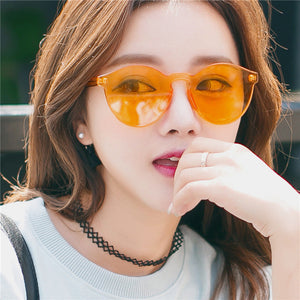 New Fashion Rimless Vintage Round Mirror Sunglasses
