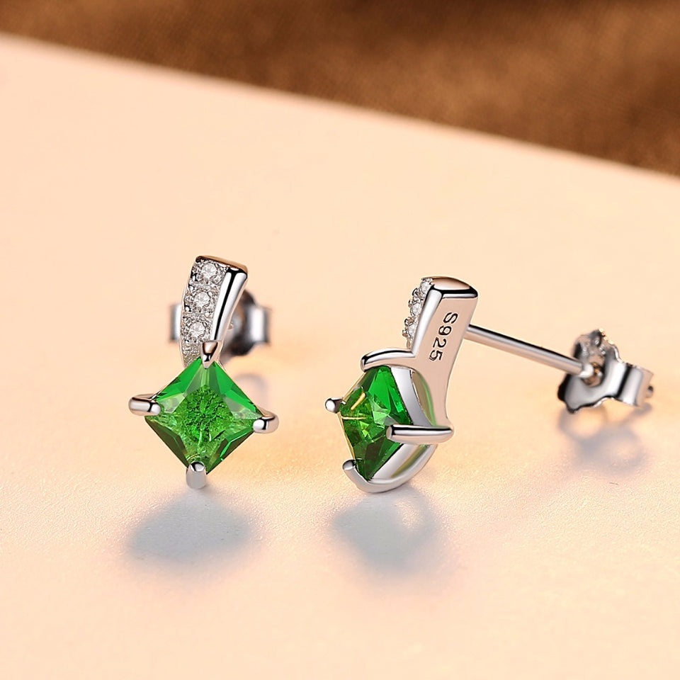 Green Square Cubic Zirconia Crystal Silver Emerald Stud Earring