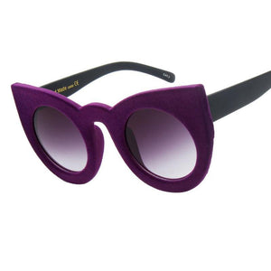 Plush personality Border Velvet Frame Sun glass UV400