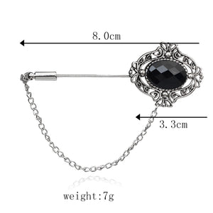 Antique Silver Black Crystal Lapel Stick Brooches Pin