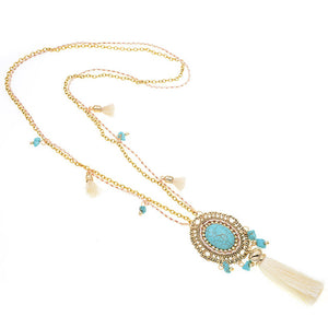Colorful Bohemia chain Tassel Statement Necklace