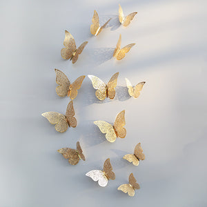 12pcs 3D Hollow Butterfly Wall Sticker for Home Decor