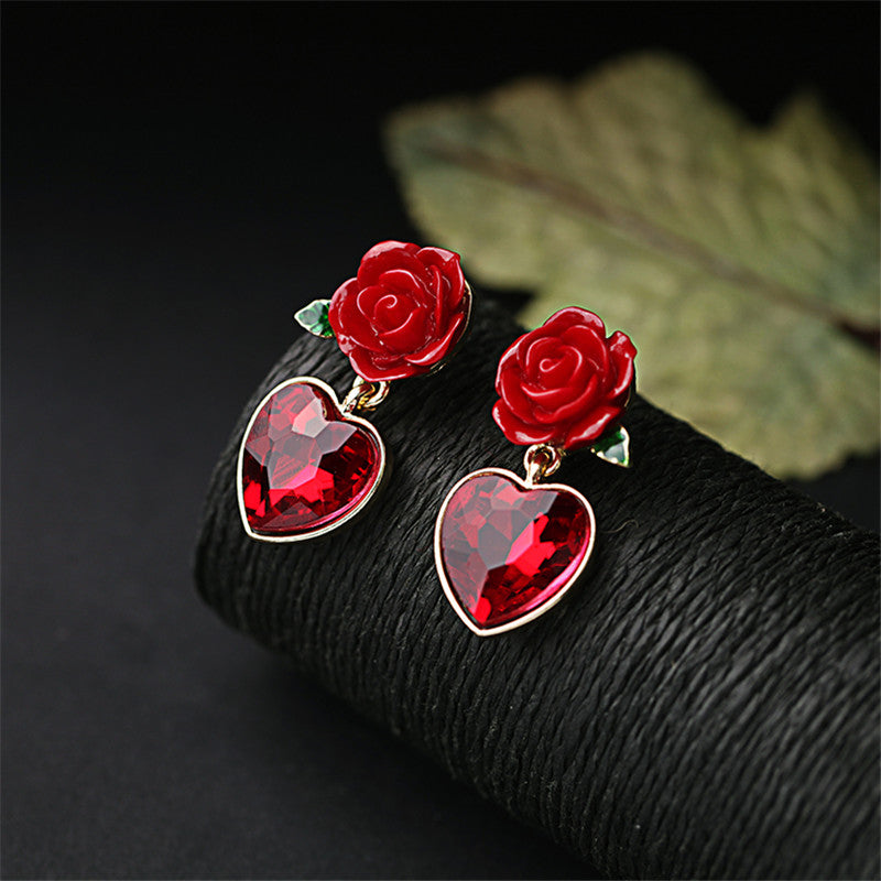 Crystal Red heart pendant rose stud earring