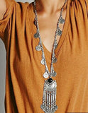 Bohemian Long  Statement Maxi Vintage Necklace Coin Tassel Fine Jewelry