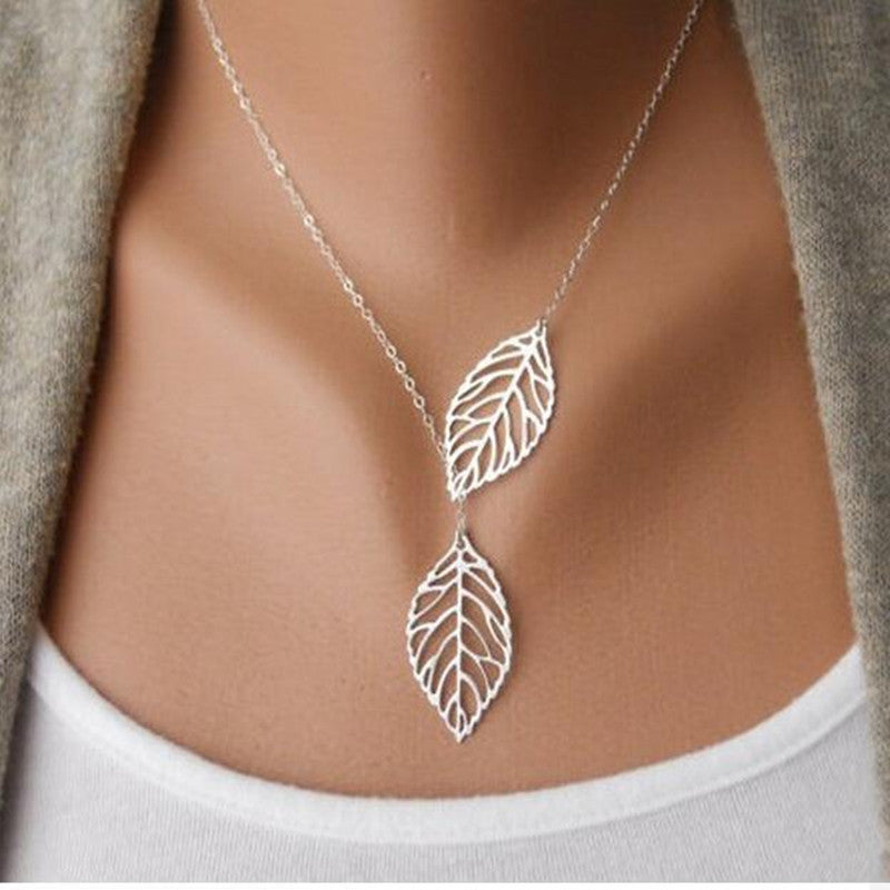 Gold Silver Plated Chain Necklace Leaf Casual Beads Long Strip