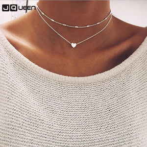 Double Layers Chain Heart shaped Choker Necklace for Couple Lovers