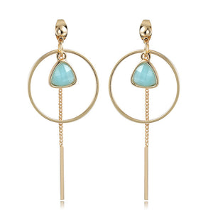 Round Dangle with Gold Color Bar Tassel Long Earring