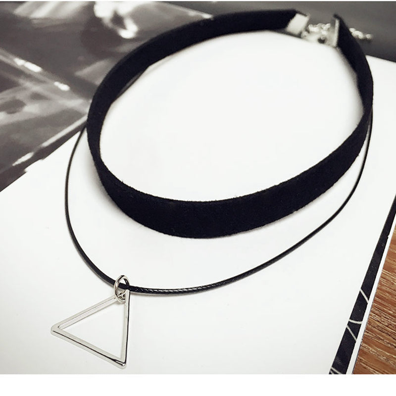 Triangle Pendant Leather Strap Choker Necklace