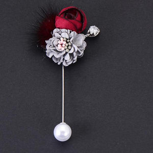 Handmade Fabric Rose Flower Brooch With Hairball 10mm Imitation Pearl Lapel Pin