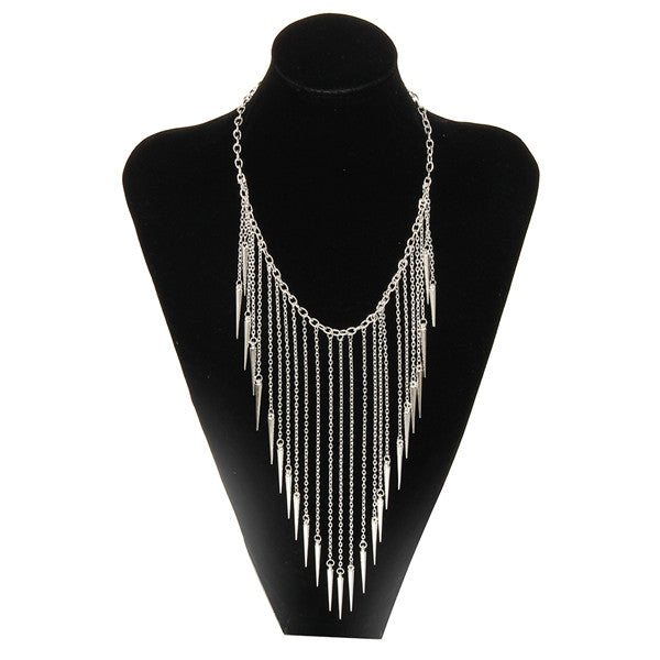 Long Tassels Choker Necklace Punk Chain Gold-color Jewelry