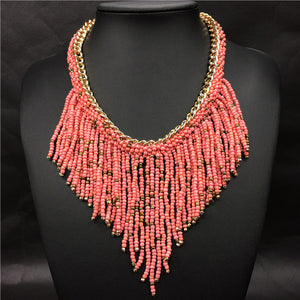 New Bohemian Necklaces Women Handmade Handwoven Collier Long Tassel Beads Choker Statement Necklaces
