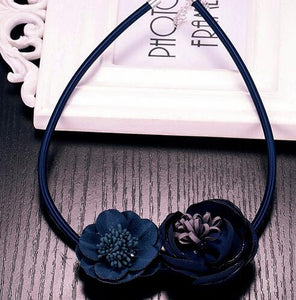 Handmade Fabric Flower Statement Choker Necklace