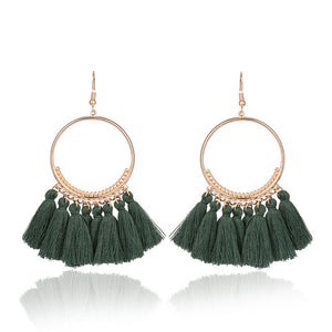 Golden Round Circle Dangle Fringed Tassel Earring