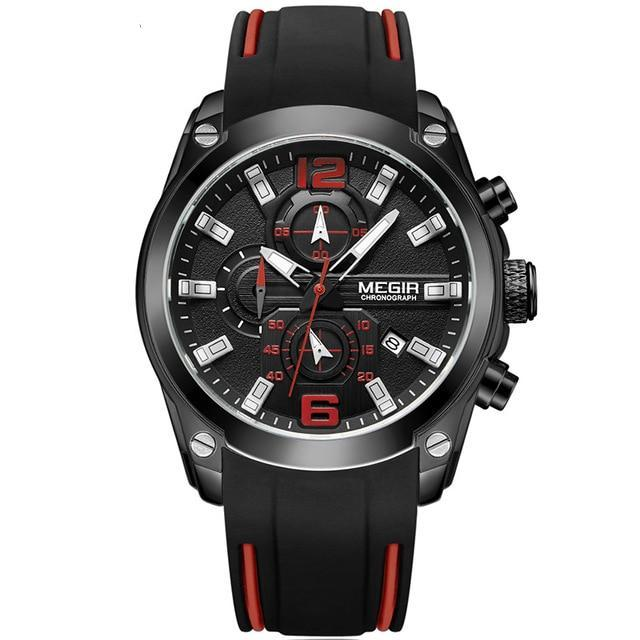 Chronograph Analog Quartz Watch with Silicone Rubber Strap