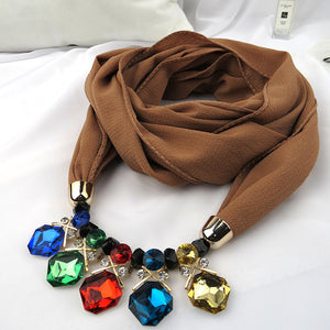Autumn Winter New Geometric Crystal Beads Rhinestone Scarf Necklace