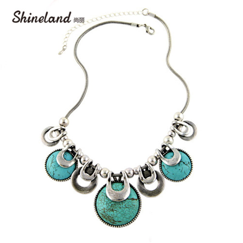 Ethnic Vintage Accessories Natural Stones Chunky Chains Statement Necklace