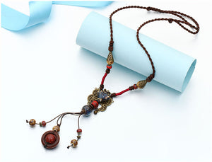 Antique Gold And Red Color Ceramics Beads Ethnic Long Necklace