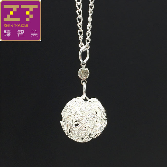 Bijoux Silver Plated Metal Wire Hollow Ball Crystal Pendants Necklaces