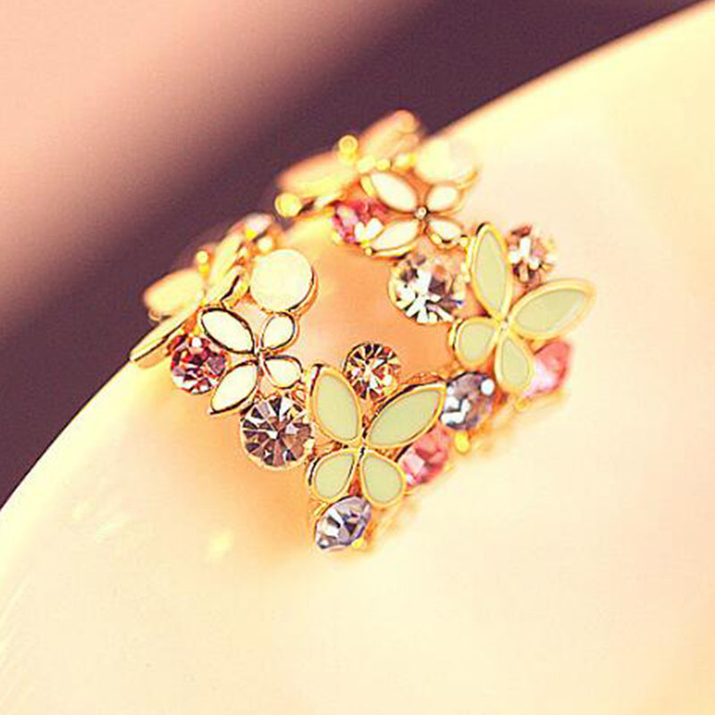 Gold Rhinestone Colorful Flowers C Letter Type Butterfly Stud Earring