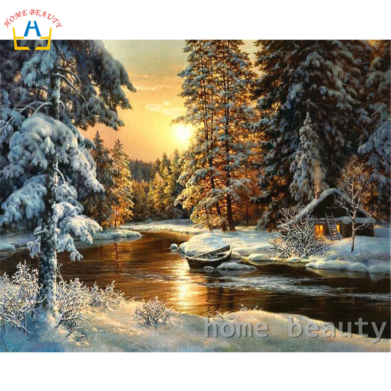 DIY Painting By Numbers Sunrise Snow River
