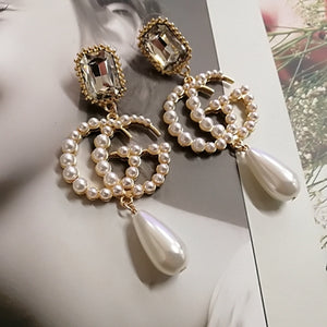 Big tassel dangle drop pearl earring