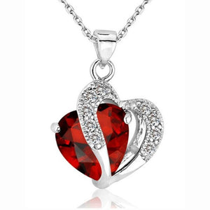 Silver Chain Crystal Rhinestone Heart Pendant Necklaces