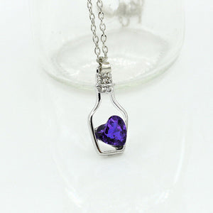 New Popular Crystal Love Drift Bottles Pendant Necklace Jewelry for Woman