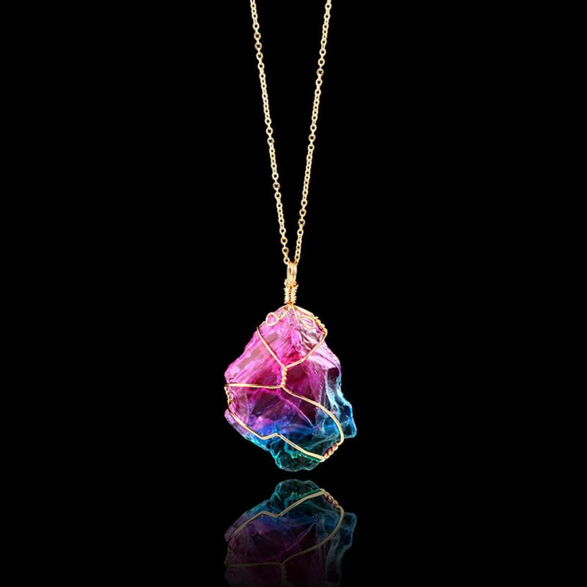Rainbow Stone Natural Crystal Rock Necklace Quartz Pendant