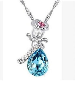 High Quality Angel Crystal Rose Flower Pendant Necklace