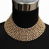 Metal Beads Chunky Maxi Statement Necklace